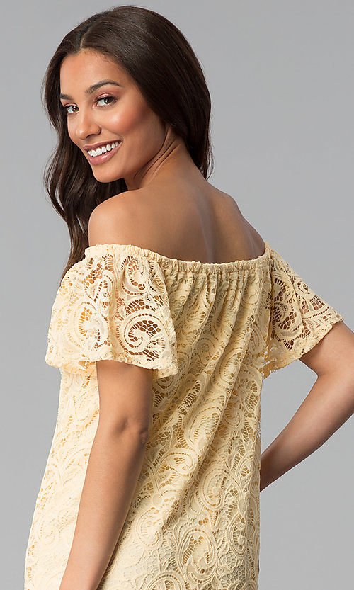 Image of yellow lace wedding-guest shift off-shoulder dress. Style: JU-TI-T1056 Detail Image 2