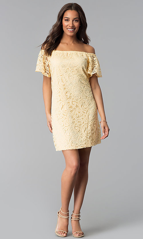Image of yellow lace wedding-guest shift off-shoulder dress. Style: JU-TI-T1056 Detail Image 3