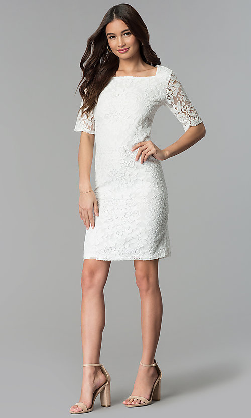 Image of white knee-length sheath graduation party dress. Style: JU-TI-T1328 Detail Image 3