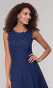 Image of sleeveless short floral-lace graduation party dress. Style: JU-TI-T1451 Detail Image 6