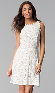 Image of sleeveless short floral-lace graduation party dress. Style: JU-TI-T1451 Detail Image 3