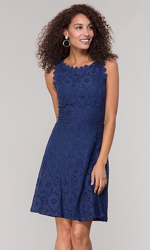 Image of sleeveless short floral-lace graduation party dress. Style: JU-TI-T1451 Detail Image 4