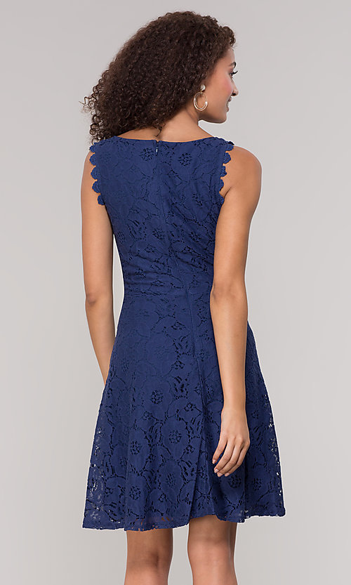 Image of sleeveless short floral-lace graduation party dress. Style: JU-TI-T1451 Detail Image 5