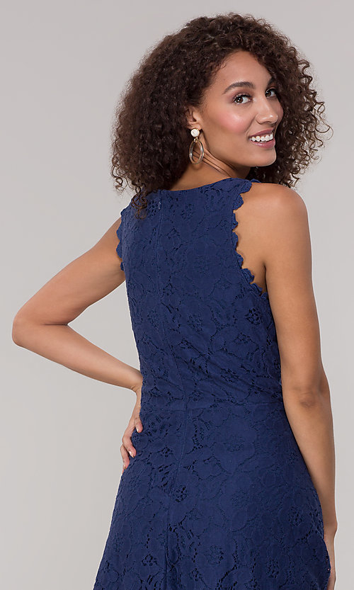 Image of sleeveless short floral-lace graduation party dress. Style: JU-TI-T1451 Detail Image 7