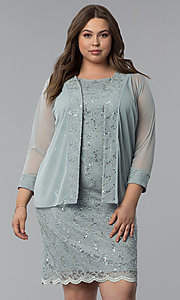 Image of plus-size MOB sequin-lace short dress with jacket. Style: JU-TI-T91426 Front Image