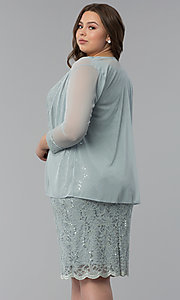 Image of plus-size MOB sequin-lace short dress with jacket. Style: JU-TI-T91426 Back Image