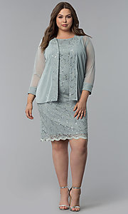 Image of plus-size MOB sequin-lace short dress with jacket. Style: JU-TI-T91426 Detail Image 1