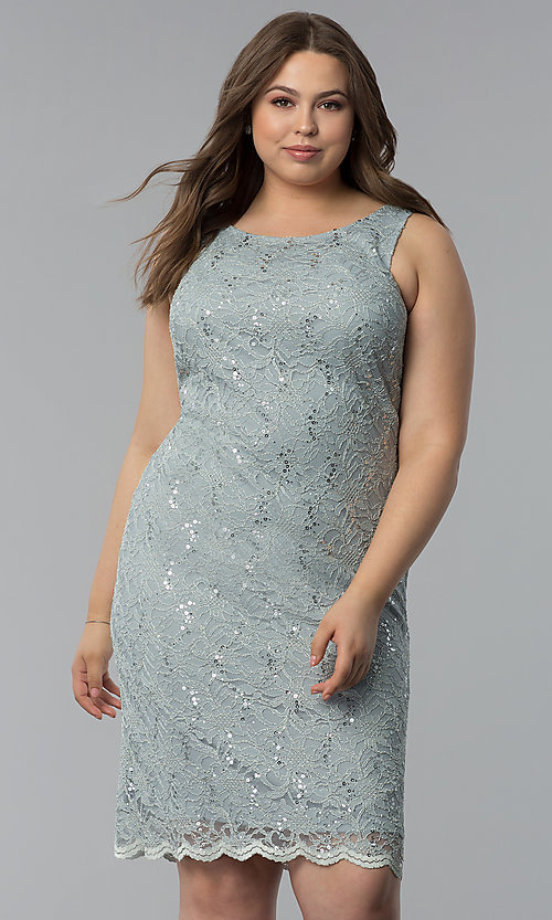 Image of plus-size MOB sequin-lace short dress with jacket. Style: JU-TI-T91426 Detail Image 2