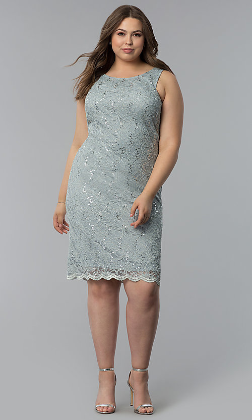 Image of plus-size MOB sequin-lace short dress with jacket. Style: JU-TI-T91426 Detail Image 3