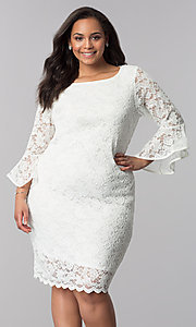 Image of plus-size short white lace bell-sleeve party dress. Style: JU-TI-T90991 Front Image
