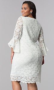Image of plus-size short white lace bell-sleeve party dress. Style: JU-TI-T90991 Back Image