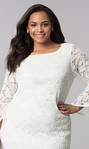 Image of plus-size short white lace bell-sleeve party dress. Style: JU-TI-T90991 Detail Image 1