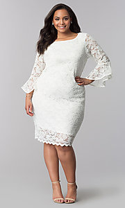 Image of plus-size short white lace bell-sleeve party dress. Style: JU-TI-T90991 Detail Image 2