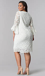 Image of plus-size short white lace bell-sleeve party dress. Style: JU-TI-T90991 Detail Image 3