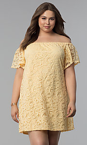 Image of yellow off-the-shoulder short lace plus party dress. Style: JU-TI-T91056 Front Image