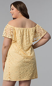 Image of yellow off-the-shoulder short lace plus party dress. Style: JU-TI-T91056 Back Image