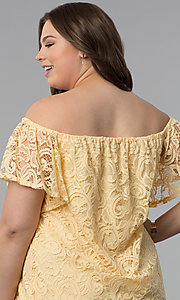 Image of yellow off-the-shoulder short lace plus party dress. Style: JU-TI-T91056 Detail Image 2