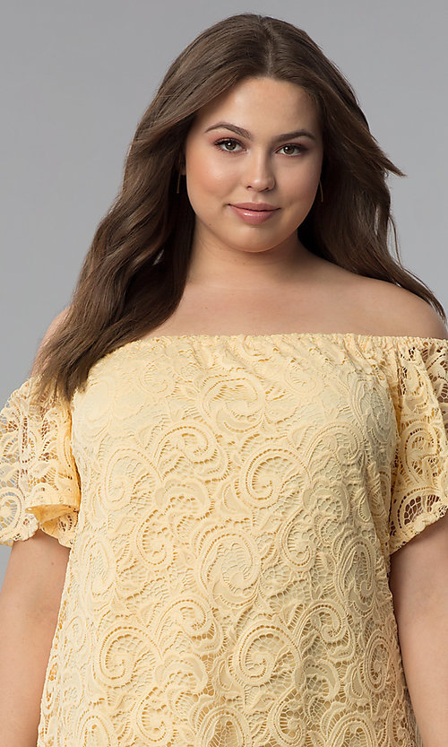 Image of yellow off-the-shoulder short lace plus party dress. Style: JU-TI-T91056 Detail Image 1