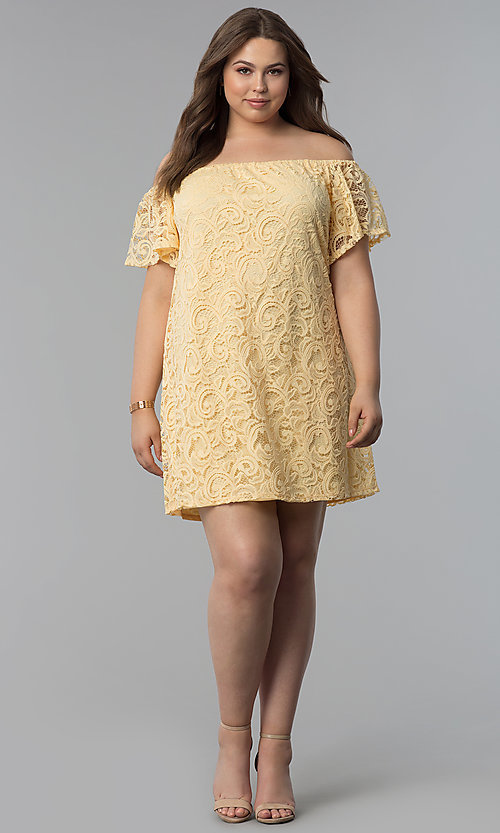 Image of yellow off-the-shoulder short lace plus party dress. Style: JU-TI-T91056 Detail Image 3