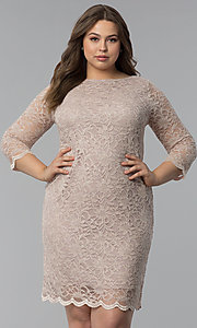 Image of plus-size lace wedding-guest dress with 3/4 sleeves. Style: JU-TI-T91169 Front Image