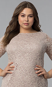 Image of plus-size lace wedding-guest dress with 3/4 sleeves. Style: JU-TI-T91169 Detail Image 1