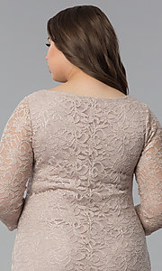 Image of plus-size lace wedding-guest dress with 3/4 sleeves. Style: JU-TI-T91169 Detail Image 2