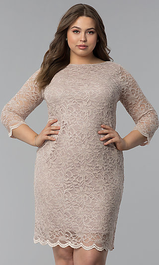 Plus-Size Lace Wedding-Guest Dress with 3/4 Sleeves