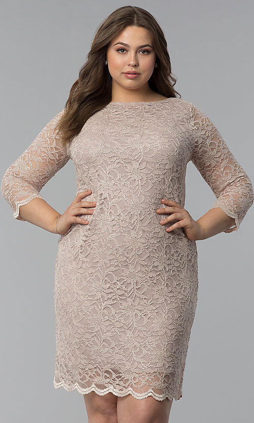 Wedding Guest Plus Size Lace Dress With 34 Sleeves
