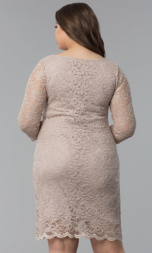 Image of plus-size lace wedding-guest dress with 3/4 sleeves. Style: JU-TI-T91169 Back Image