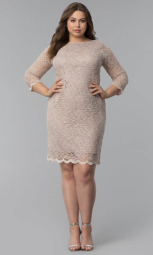 Image of plus-size lace wedding-guest dress with 3/4 sleeves. Style: JU-TI-T91169 Detail Image 3