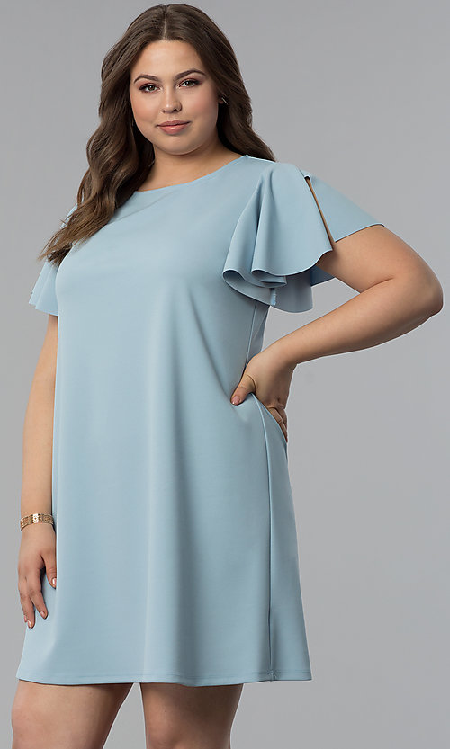 e26a3c1fc4c6 Image of short-sleeved plus-size blue wedding-guest dress. Style: