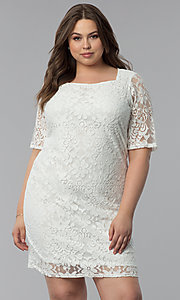 Image of plus-size short white lace graduation party dress.  Style: JU-TI-T91328 Front Image