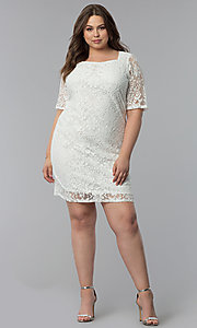 Image of plus-size short white lace graduation party dress.  Style: JU-TI-T91328 Detail Image 3