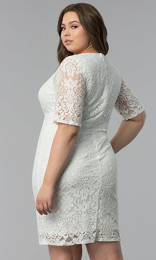 Plus-Size White Lace Graduation Dress with Sleeves