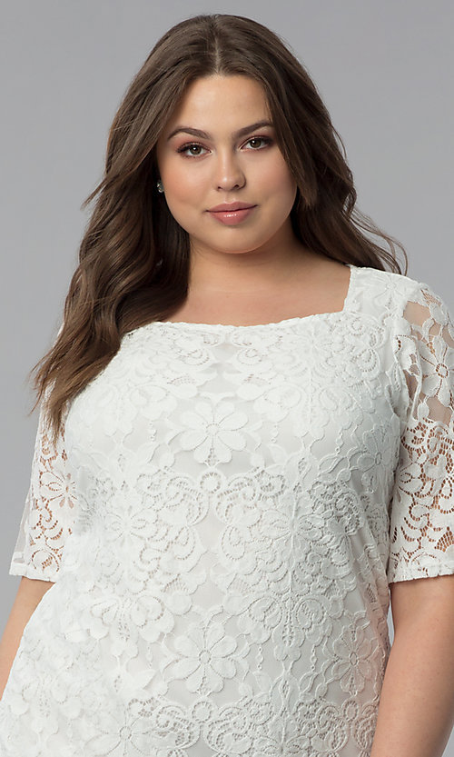 Image of plus-size short white lace graduation party dress.  Style: JU-TI-T91328 Detail Image 1
