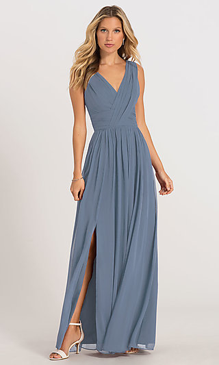 Dessy Collection Long Bridesmaid Dress with Side Slit