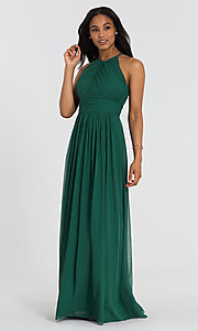 Image of long chiffon Dessy Collection bridesmaid dress. Style: DG-D-2918 Detail Image 4