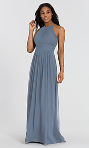 Image of long chiffon Dessy Collection bridesmaid dress. Style: DG-D-2918 Front Image