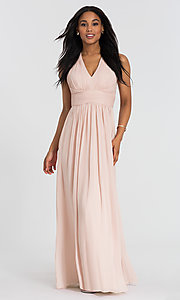 Image of lux-chiffon long Dessy Collection bridesmaid dress. Style: DG-D-2908 Detail Image 1