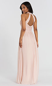 Image of lux-chiffon long Dessy Collection bridesmaid dress. Style: DG-D-2908 Back Image