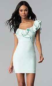 Image of short off-the-shoulder white graduation dress. Style: BLU-IBD8692 Front Image