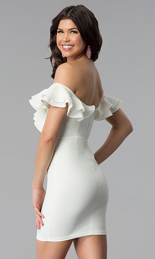 Image of short off-the-shoulder white graduation dress. Style: BLU-IBD8692 Back Image
