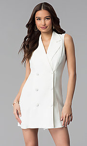 Image of casual double-breasted short white coat dress. Style: BLU-IBD8849 Front Image