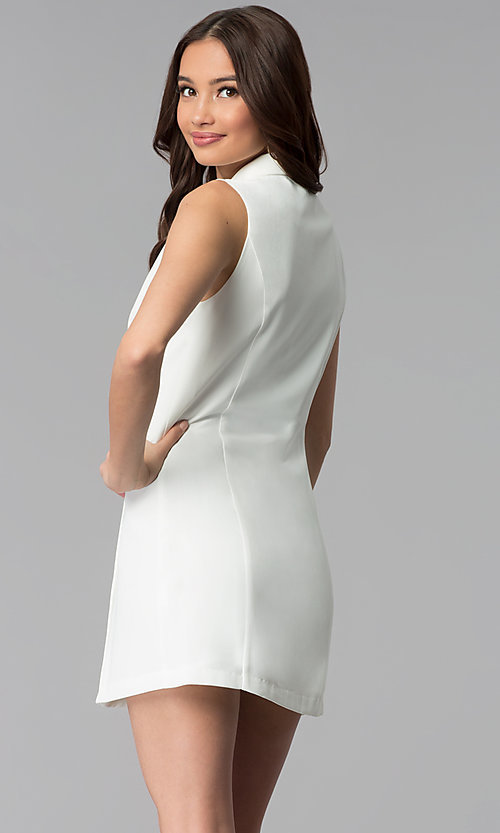 Image of casual double-breasted short white coat dress. Style: BLU-IBD8849 Back Image