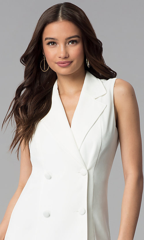 Image of casual double-breasted short white coat dress. Style: BLU-IBD8849 Detail Image 1