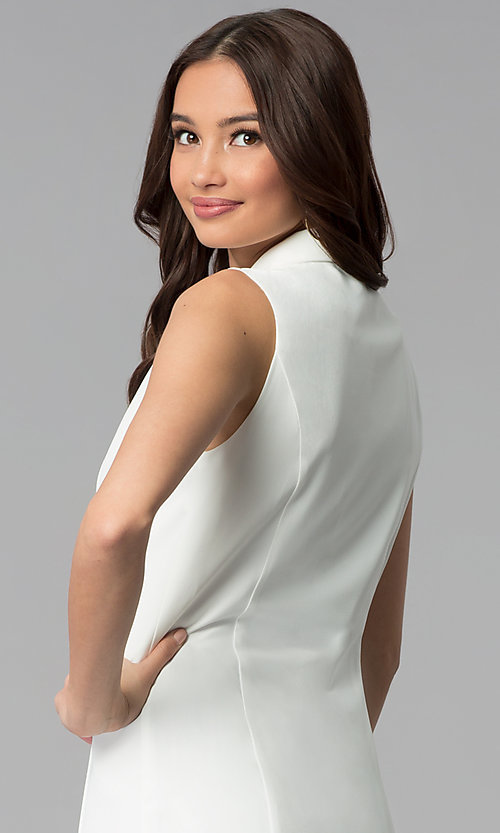 Image of casual double-breasted short white coat dress. Style: BLU-IBD8849 Detail Image 2