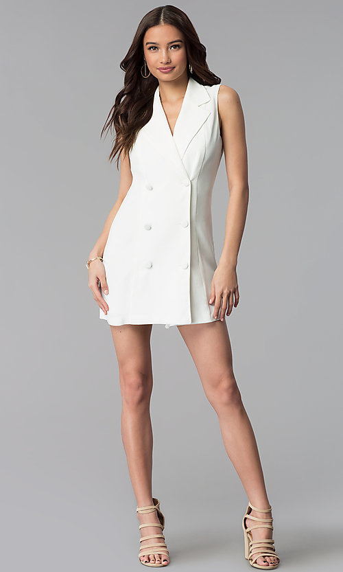Image of casual double-breasted short white coat dress. Style: BLU-IBD8849 Detail Image 3