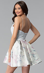 Image short print-skirt party dress with lace bodice. Style: JU-10620 Back Image