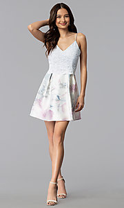 Image short print-skirt party dress with lace bodice. Style: JU-10620 Detail Image 3