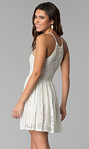 Image of nude-lined short ivory lace graduation party dress. Style: JU-10719 Back Image
